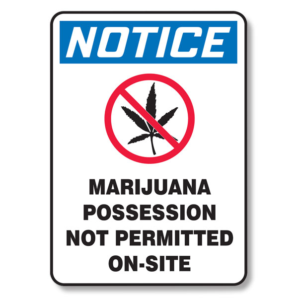 Marijuana Possession Not Permitted On-Site Sign