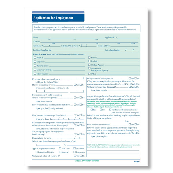Blank  State Compliant Job Employment Application Long Form