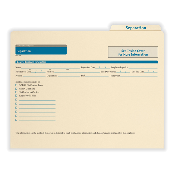 Separation Records Organizer to Store Employee Separation Notice