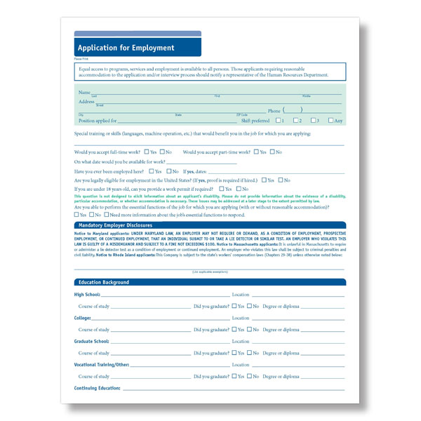 Blank  State Compliant Job Employment Application Short Form