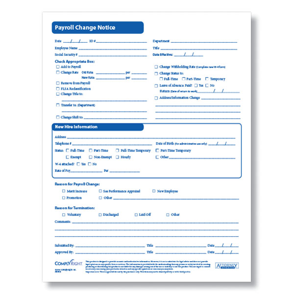 Payroll Change Form for Documenting Employee Payroll Changes