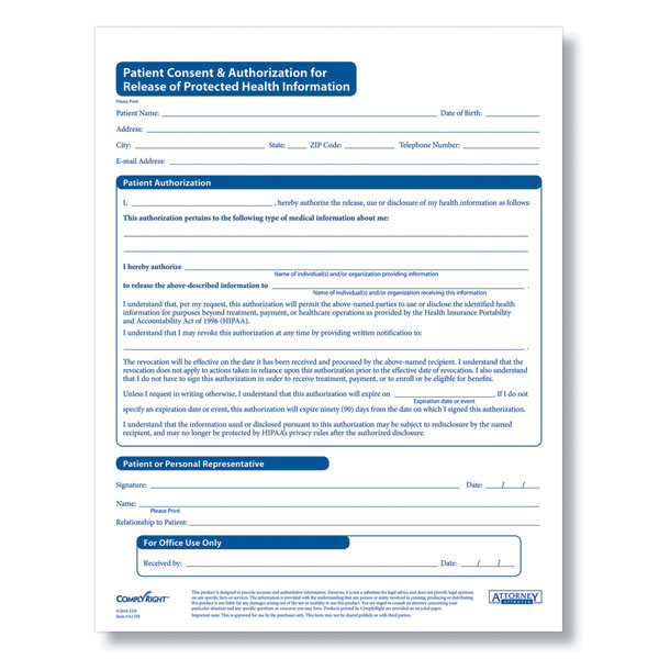 Hipaa Patient Consent & Authorization For Release Of Phi