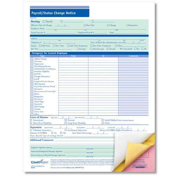 Payroll Change Form with Carbonless Copies for Easy Routing