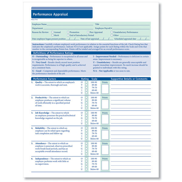 Employee Performance Appraisal to Document Employee Performance – Employee Review Forms