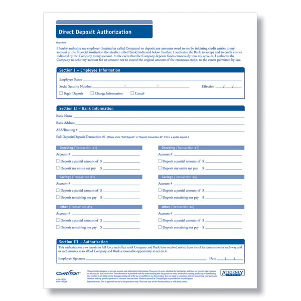 Direct Deposit Form - Downloadable