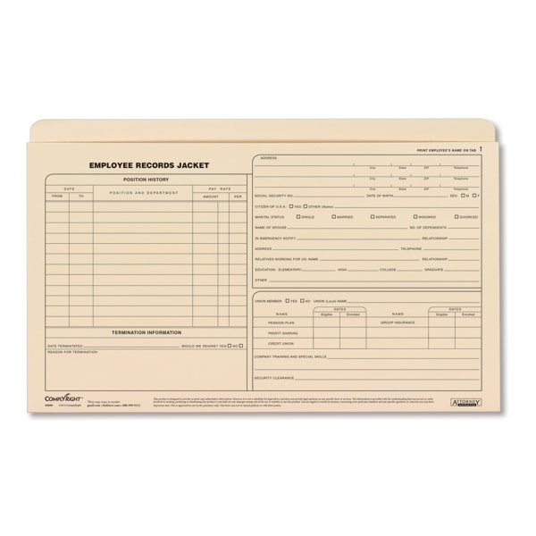 Employee Records Jackets - Legal Size for Employee Documents