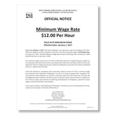 Palo Alto, CA Minimum Wage Poster