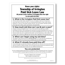 Irvington, NJ Paid Sick Leave Poster