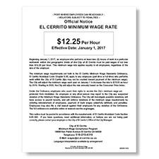 El Cerrito, CA Minimum Wage Poster