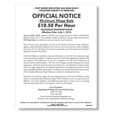 Pasadena, CA Minimum Wage Poster