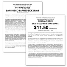 San Diego, California Minimum Wage & Earned Sick Leave Poster Bundle