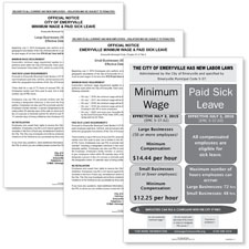 Emeryville, CA Minimum Wage/Paid Sick Leave Poster Bundle