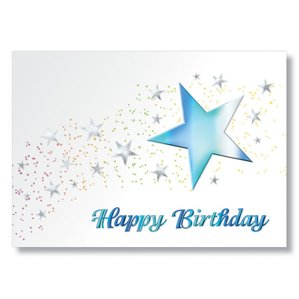 Birthday Cards With Teal Stars Embossed In Colorful Foil