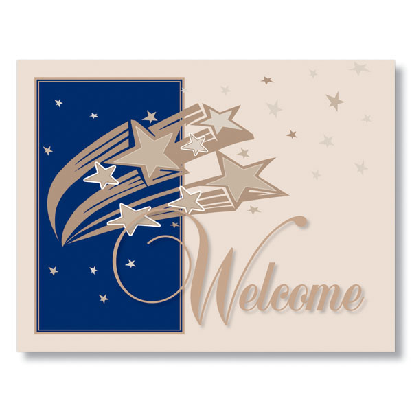 starry welcome card for welcoming new employees