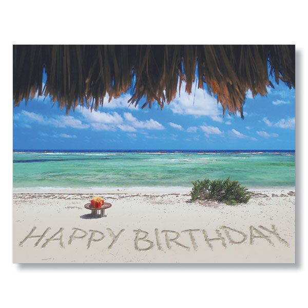 happy birthday on the beach employee birthday cards, Greeting card