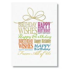 Gold Ribbon Birthday Card
