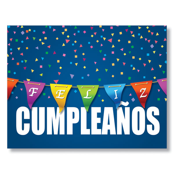 Birthday Color Banner Business Greeting Cards in Spanish