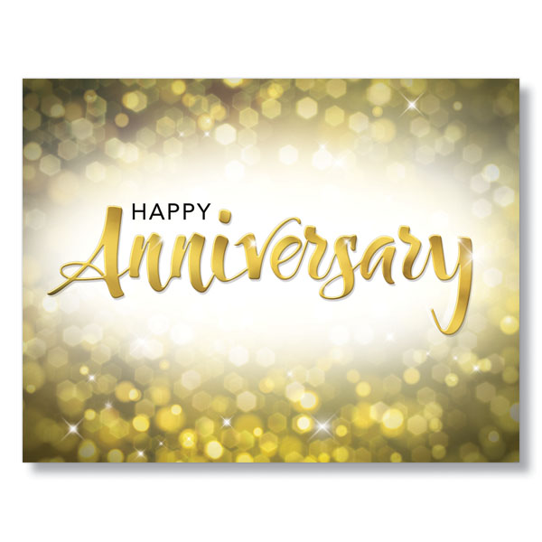 Try py gold sparkle employee anniversary cards for staff