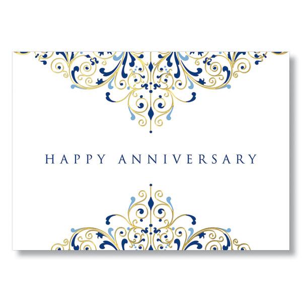 Anniversary flourish gold foil work card