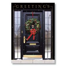 Front Door Wreath Holiday Card