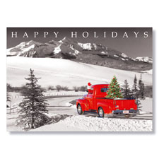 Santa's Mountain Truck Holiday Card