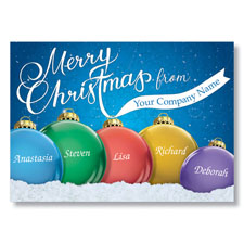 Personalized Glass Bulbs Holiday Card