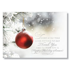Red Ornament Thank You Holiday Card