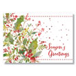 Watercolor Holly and Berries Holiday Card