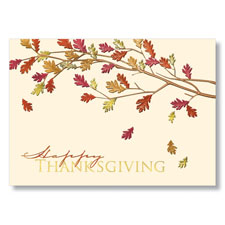 Foil Leaves of Thanks Holiday Cards
