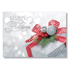 Red Ribbon Gift Holiday Card