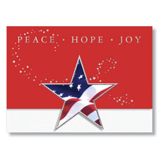 Peace, Hope, Joy, Stars and Stripes Holiday Card