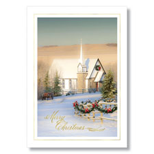 Country Church at Christmas Holiday Card