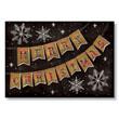 Burlap and Plaid Banner Christmas Holiday Card