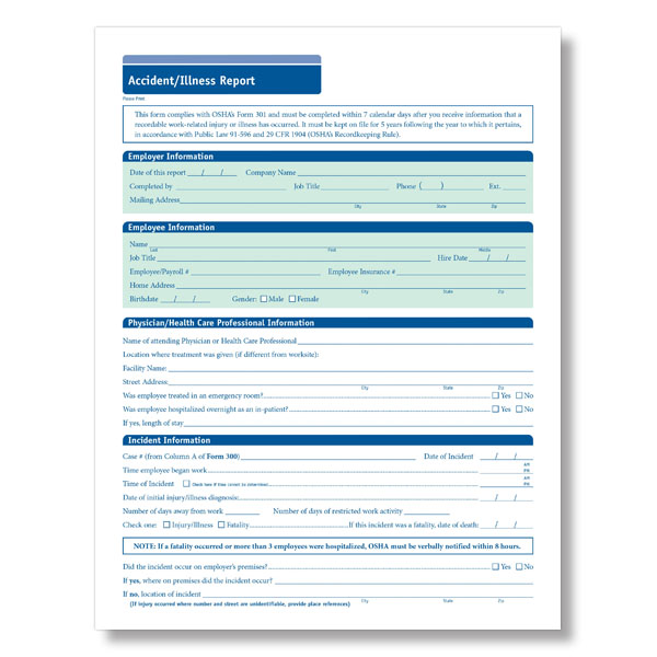 Osha Accident Report Form