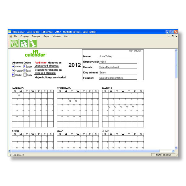 HRcalendar Employee Attendance Tracking Software Renewal ...