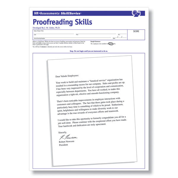 Online proofreading tests