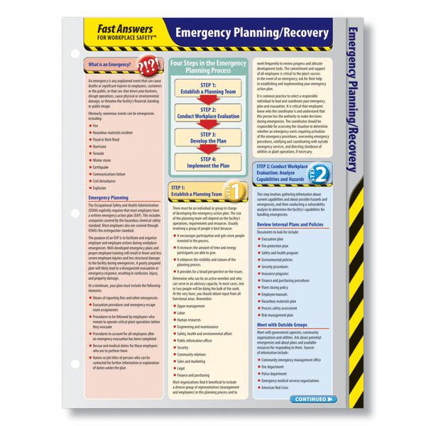 Emergency Planning Reference Card  Osha Emergency Action Plan