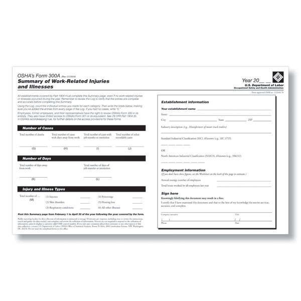 Osha Form 300A Pdf For 2013 Annual Osha Reporting
