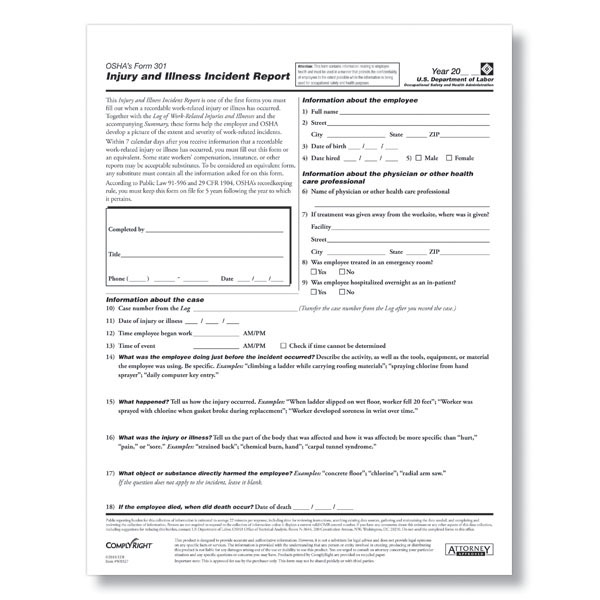 OSHA Form 301 Download - Printable PDF Fill & Save Format