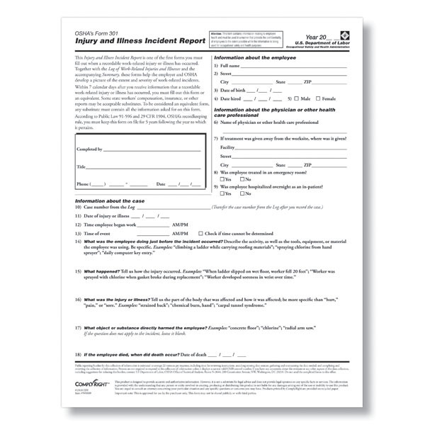 Osha Form 301 Pdf For Osha Recordkeeping