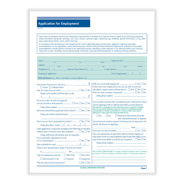 Compliant Job Application Long Form