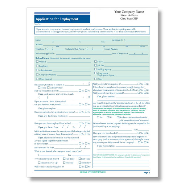 Picture of Imprinted 50-State Compliant Job Application Long Form