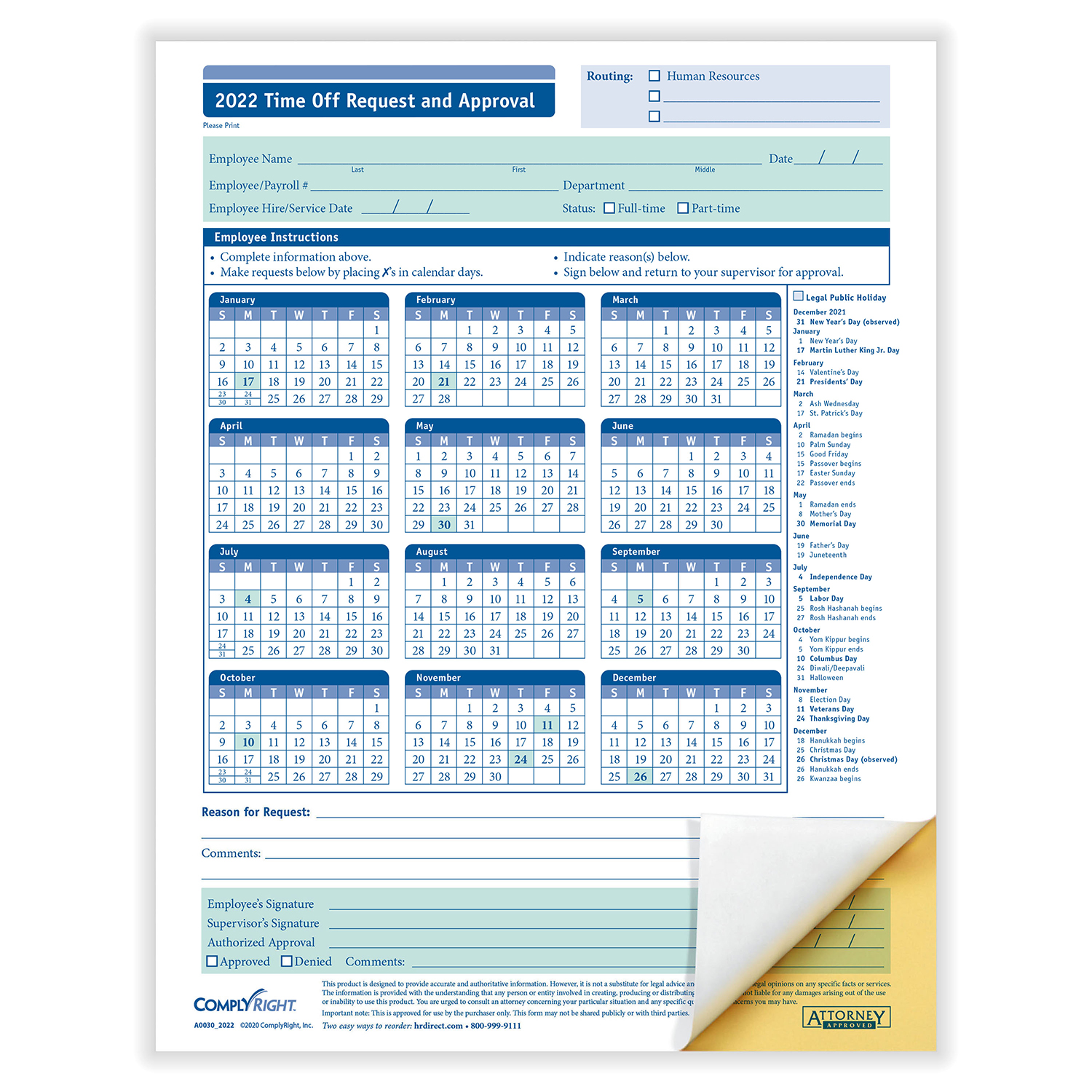 2-Part Carbonless Time Off Request and Approval Form