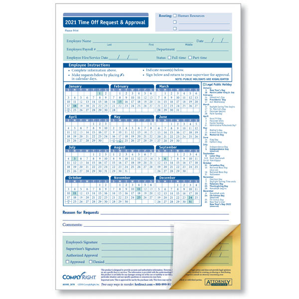 Small Time Off Request and Approval Form