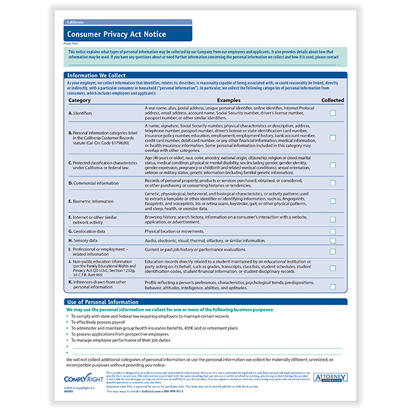Picture of California Consumer Privacy Act Notice