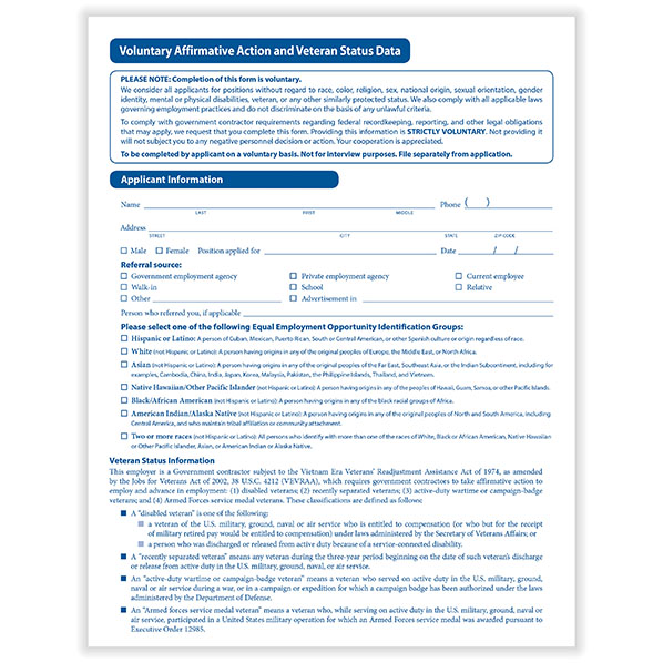 Veteran Status Data Form