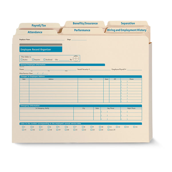 Employee Record Organizer Expandable Folder Set
