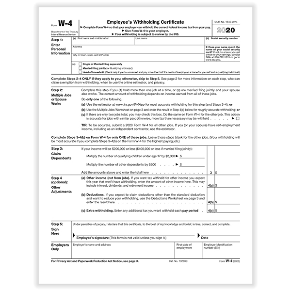 Internal Revenue Service W-4 Form