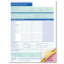 Picture of Payroll Status Change Form - 3-Part