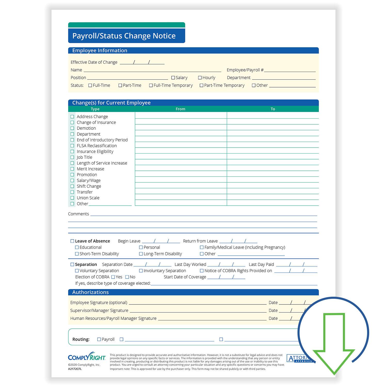 Downloadable Payroll Status Change Notice